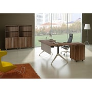 Unique Furniture 300 Collection Executive Teardrop Desk with Left Return Pedestal Walnut (382-WAL)