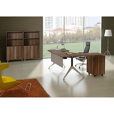 Unique Furniture 300 Collection Executive Teardrop Desk with Left Return Pedestal Walnut (382-WAL)