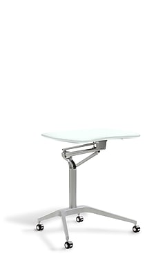 Unique Furniture Workpad Stand Up Height Adjustable Desk with White Top (208-WH)