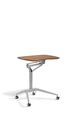Unique Furniture Workpad Stand Up Height Adjustable Desk with Walnut Top (208-WAL)