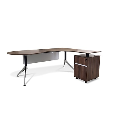 Unique Furniture 300 Collection Executive Teardrop Desk with Right Return Pedestal Walnut (381-WAL)