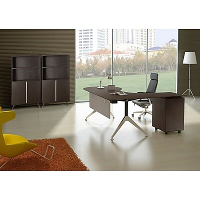 Unique Furniture 300 Collection Executive Teardrop Desk with Left Return Pedestal Espresso (382-ESP)