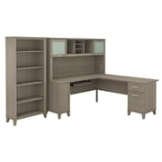 Bush Furniture Somerset 72W L Shaped Desk with Hutch and 5 Shelf Bookcase, Ash Gray (SET011AG)