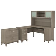 Bush Furniture Somerset 60W L Shaped Desk with Hutch and Lateral File Cabinet, Ash Gray (SET008AG)