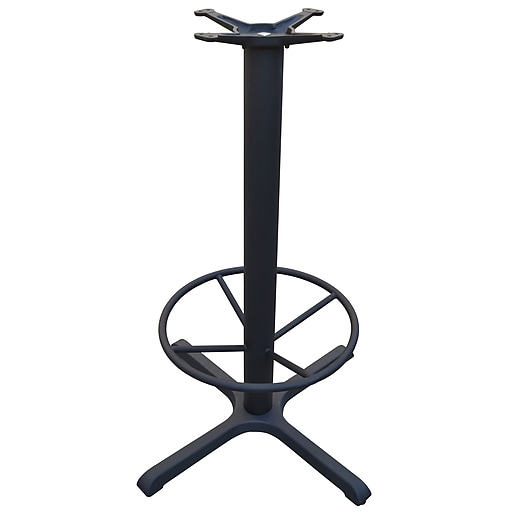 "JI Bases 30""x30"" Bar-Height Cast Iron Table Base - 4"" Column with Footring and 13"" Top Plate (JI4-30TP12BHFR)"