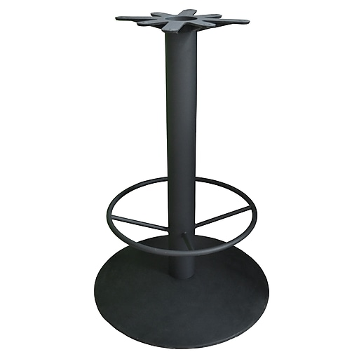 """JI Bases 28"""" Round Bar-Height Cast Iron Table Base - 4"""" Column with Footring and 17"""" Top Plate (JI4-28RDTP17BHF)"""