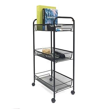 Mind Reader – Chariot à roulettes en treillis métallique avec 3 tablettes, noir (3Tocart-Blk)