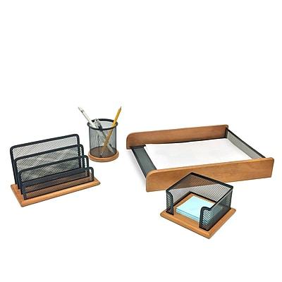 Mind Reader 'Exec' Wood Executive Desk Organizer Collection, 4 Piece set (4WDORG-BLK)