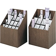 Safco Compact Corrugated Upright Files, 12-Compartment, Walnut Wood (3079)