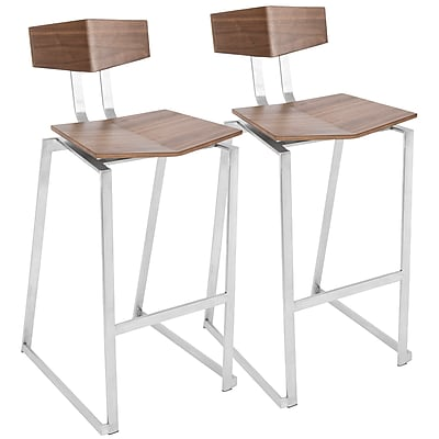 LumiSource Flight Contemporary Stainless Steel Barstool in Walnut Wood Set of 2, (BS-FLIGHT WL2)