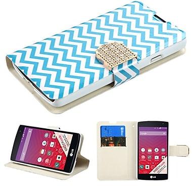 Insten ? Étui-support folio en cuir avec porte-carte et diamants pour LG Optimus F60, bleu/blanc (2092221)