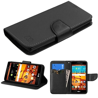 Insten Flip Leather Fabric Case With Stand/Card Slot For LG Magna/Volt 2, Black (2130204)