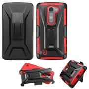 Insten Hard Hybrid Rugged Shockproof Plastic Silicone Cover Case with Holster For LG Magna/Volt 2 - Black/Red