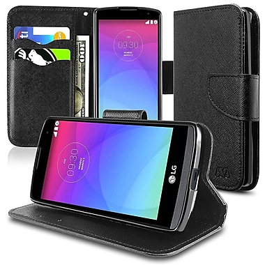 Insten Folio Leather Fabric Cover Case With Stand/Card Holder For LG Leon, Black (2117642)