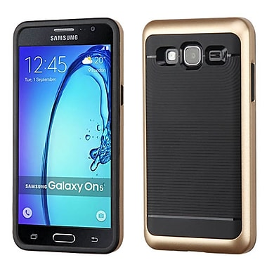 Insten Dual Layer Hybrid TPU Rubber With Hard Frame Cover Case For Samsung Galaxy On5, Gold/Black (2259864)