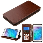 Insten Folio Leather Fabric Case w/stand/card holder/Photo Display For Samsung Galaxy J7 (2015) - Brown