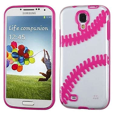 Insten Baseball Gummy Case For Samsung Galaxy S4 IV I9500, Clear/Solid Hot Pink (1591687)