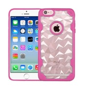 Insten Polygon Hard Silicone Cover Case For Apple iPhone 6/6s - Clear/Hot Pink
