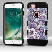 Insten Purple European Flowers/Black TUFF Trooper Hybrid Dual Layer Case Cover for Apple iPhone 7
