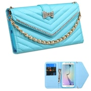 Insten Folio Leather Fabric Cover Case Chain w/card holder/Diamond For Samsung Galaxy S6 Edge - Blue