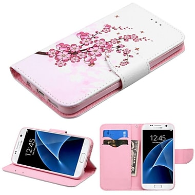 Insten Spring Flowers Book-Style Leather Fabric Case w/stand/card holder For Samsung Galaxy S7 - Pink/White