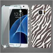 Insten Zebra Leather Case Cover For Samsung Galaxy S7 - Black/White (with Tempered Glass Screen Protector)
