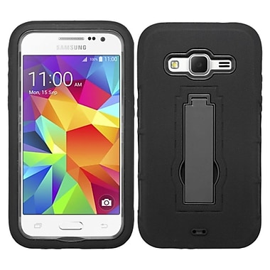 Insten Symbiosis Rubber Hybrid Hard Shockproof Case With Stand For Samsung Galaxy Core Prime/Prevail, Black (2068685)