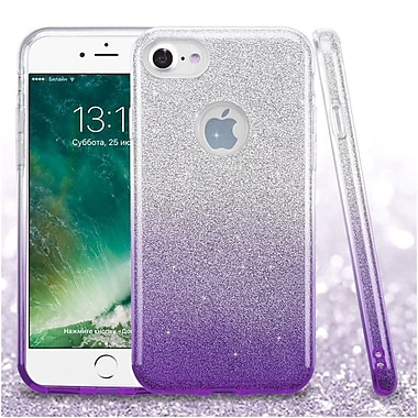 Insten Glitter Hybrid Hard Plastic/Soft Flexible Rubber Case For iPhone 7/ 8, Purple (2276963)