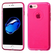 Insten Transparent Hot Pink Bling Glitter Flexible TPU Rubber Skin Case For Apple iPhone 7