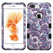 Insten Tuff European Flowers Hard Hybrid Rubberized Silicone Cover Case For Apple iPhone 7 Plus - Purple/White