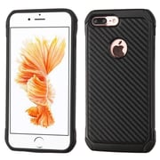 Insten Carbon Fiber Ultra Slim Dual Layer Silisone Hard Case For Apple iPhone 7 Plus - Black