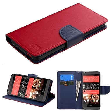 Insten Flip Leather Fabric Case w/stand/card slot For HTC Desire 626/626s - Red/Blue