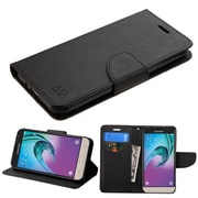 Insten Flip Leather Fabric Cover Case w/stand/card holder For Samsung Galaxy Amp Prime / J3 (2016) - Black