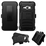 Insten Hard Dual Layer Plastic Silicone Case w/Holster For Samsung Galaxy J1 (2016) - Black