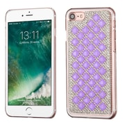 Insten Sparkly Diamante Hard Cover Case For Apple iPhone 7 - Purple/Silver (with 3D Rhinestone Diamond)