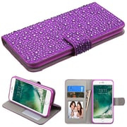 Insten Leather Diamond Wallet Case with ID Card & Photo slot For iPhone 7 - Purple
