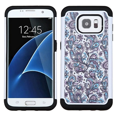 Insten European Flowers Hard Hybrid Silicone Cover Case w/Diamond For Samsung Galaxy S7 Edge - Purple/White