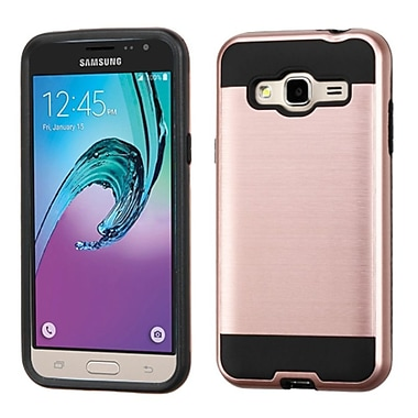 Insten Hard Hybrid Rubberized Silicone Cover Case For Samsung Galaxy Amp Prime / J3 (2016) - Rose Gold/Black