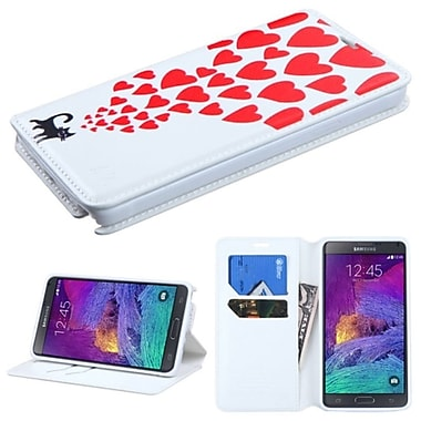 Insten Love Cats Folio Leather Fabric Case w/stand/card holder For Samsung Galaxy Note 4 - White/Red