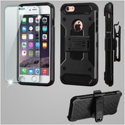 Insten Kinetic Hybrid Holster Case (with Tempered Glass Screen Protector) For Apple iPhone 6s Plus / 6 Plus - Black