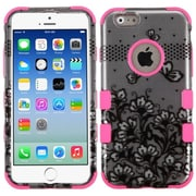 Insten Dual Layer Black Lace Flowers/Pink TUFF Hybrid Hard Case Cover for iPhone 6 6S 4.7""
