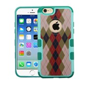 Insten Argyle Hard Rubber Cover Case For Apple iPhone 6/6s - Brown/Green