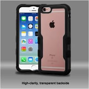 Insten 4-Layer Hybrid Case For iPhone 6 6s (Black Hard Front & Back Frame / Clear Crystal backside / rubberized bumper)