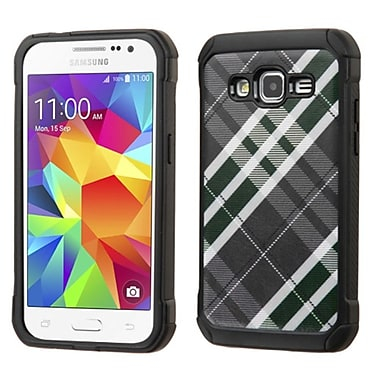 Insten Diagonal Plaid Hard Hybrid Shockproof Rubber Silicone Case For Samsung Galaxy Core Prime - Gray/White