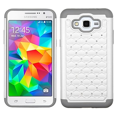 Insten Hard Dual Layer Rubber Silicone Case With Diamond For Samsung Galaxy Grand Prime, White/Gray (2119160)