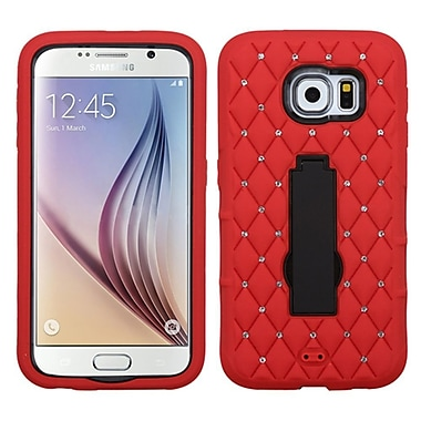 Insten Symbiosis Gel Hybrid Rubber Hard Cover Case with Stand/Diamond For Samsung Galaxy S6 - Red/Black