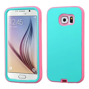 Insten Verge Hard Dual Layer Rubber Silicone Cover Case For Samsung Galaxy S6 - Teal Green/Pink