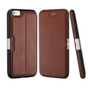 Insten Folio Genuine Leather Fabric Cover Case w/card slot For Apple iPhone 6 Plus/6s Plus - Brown/Black
