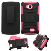 Insten Hard Hybrid Rugged Shockproof Plastic Silicone Cover Case w/Holster For LG Optimus F60 - Black/Pink
