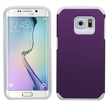 Insten Hard Hybrid Rugged Shockproof Rubber Silicone Cover Case For Samsung Galaxy S6 Edge, Purple/White (2107622)